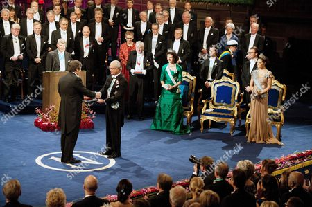 Andre Geim receives the Nobel Prize in Physics from Swedish King Carl Gustaf