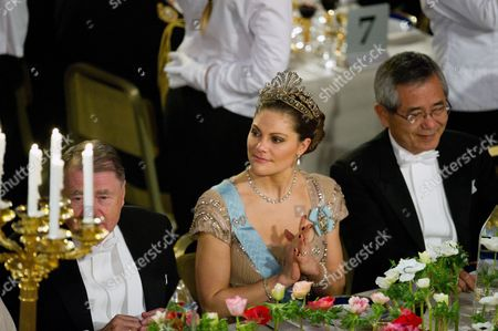 Crown Princess Victoria of Sweden with U.S. Nobel Chemistry laureate Richard F Heck to left, and on right Japanese Nobel Chemistry laureate Ei-ichi Negishi