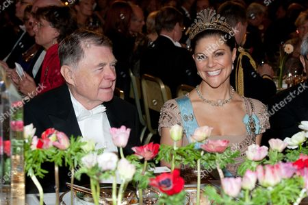 U.S. Nobel Chemistry laureate Richard F Heck and Crown Princess Victoria of Sweden