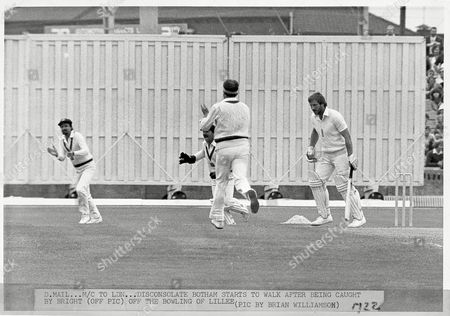 Cricket 5th Cornhill Test: England V Australia At Old Trafford. A Disconsolate Sir Ian Botham (kb June 2007) Starts To Walk After Being Caught By Bright (off Picture) Off The Bowling Of Dennis Lillee. In One Of The Most Amazing Comebacks In Test History England Recovered From A Near Innings Defeat To Beat Australia By 18 Runs. Sir Ian Botham (kb June 2007) Scored 149 To Give England A Chance And With Australia Still Only Needing 130 Runs To Win Bob Willis Took 8 Wickets For 43 Runs To Secure Victory.