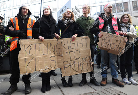 Stock Photo of Protesters outside New Scotland Yard