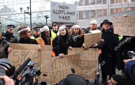 Stock Picture of Protesters outside New Scotland Yard