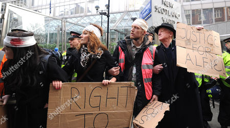 Editorial photo of Protest organised by Susan Meadows, the mother of injured demonstrator Alfie Meadows, New Scotland Yard, London, Britain - 14 Dec 2010