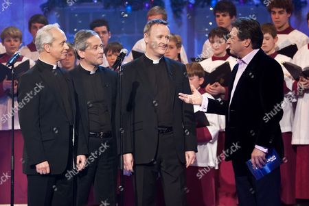 Stock Photo of The Priests - Father Martin O'Hagen, Father Eugene O'Hagan and Father David Delargy with Alan Titchmarsh