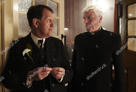 Pictured: Kevin Whately as Joe Maddison and John Woodvine as Father Connolly.