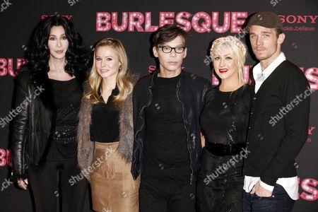 Cher, Kristen Bell, director Steve Antin, actress Christina Aguilera and Cam Gigandet