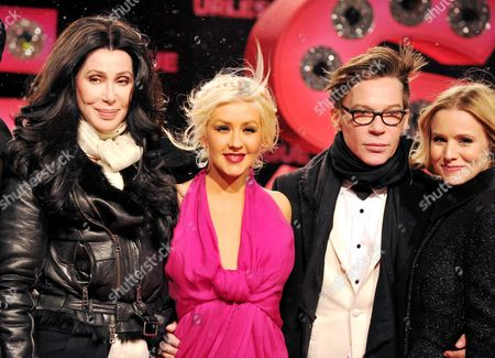 Cher, Christina Aguilera, director Steve Antin and Kristen Bell