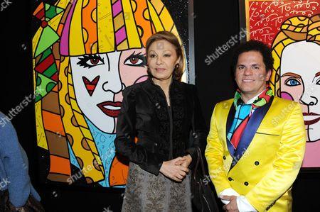 Farah Diba Pahlavi and Romero Britto