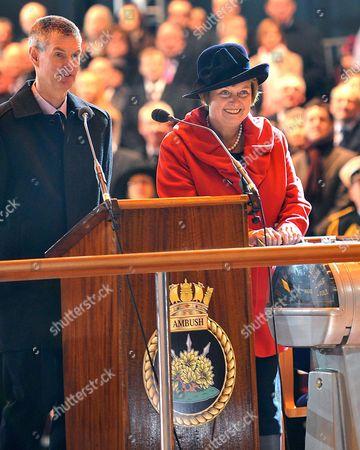 Sponsor Lady Anne Soar and BAE Managing Director John Hudson During the Naming Ceremony of HMS Ambush.