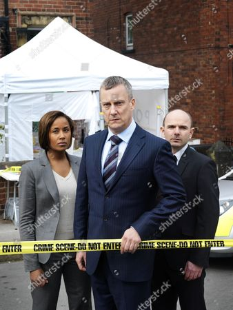 Episode: 'Aftermath' Pictured: Stephen Tompkinson as DCI Banks, Jack Deam as Ken Blackstone and Lorraine Burroughs as Winsome Jackman