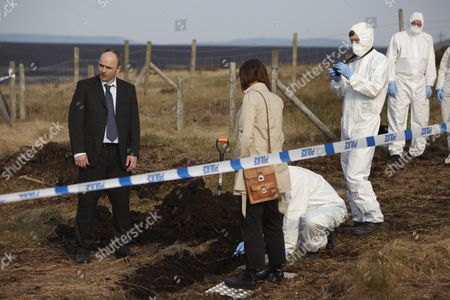 Episode: 'Aftermath' Pictured: Lorraine Burroughs as Winsome Jackman and Jack Deam as Ken Blackstone on the Moors at the Burial Site of the Final Body