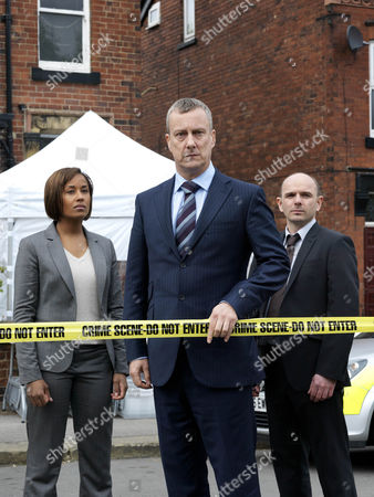 Stock Picture of Episode: 'Aftermath Pictured: Stephen Tompkinson as DCI Banks, Jack Deam as Ken Blackstone and Lorraine Burroughs as Annie Cabot.