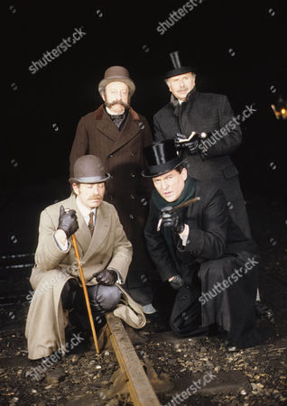 The Bruce Partington Plans Picture shows - John Rapley as Underground Official, Edward Hardwicke as Dr Watson, Denis Lill as Inspector Bradstreet, and Jeremy Brett as Sherlock Holmes