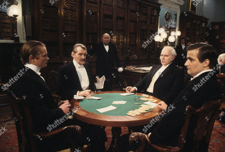 The Empty House Picture shows - Robert Addie as Mr Murray, Patrick Allen as Colonel Sebastian Moran, Richard Bebb as Sir John Hardy and Paul Lacoux as The Hon. Ronald Adair