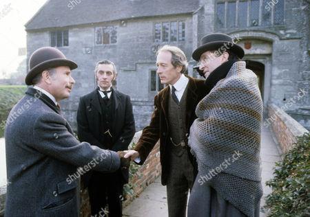 The Musgrave Ritual Picture shows - Edward Hardwicke as Dr Watson, James Hazeldine as Richard Brunton, Michael Culver as Sir Reginald Musgrave and Jeremy Brett as Sherlock Holmes