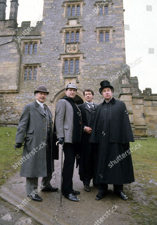 The Priory School Picture shows - Edward Hardwicke as Dr Watson, Jeremy Brett as Sherlock Holmes, Michael Bertenshaw as Aveling and Christopher Benjamin as Dr Huxtable