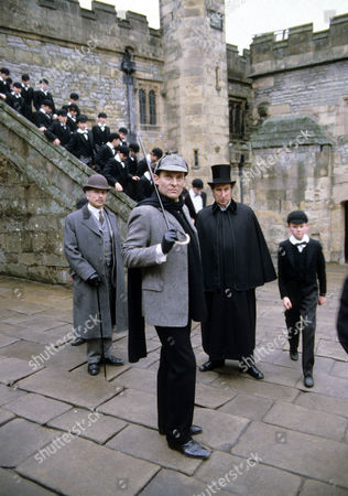 The Priory School Picture shows - Edward Hardwicke as Dr Watson, Jeremy Brett as Sherlock Holmes and Christopher Benjamin as Dr Huxtable