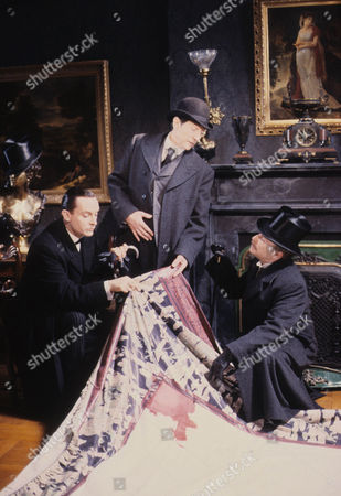 The Second Stain Picture shows - Jeremy Brett as Sherlock Holmes, Colin Jeavons as Inspector Lestrade and Edward Hardwicke as Dr Watson