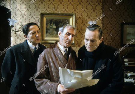 The Six Napoleans Picture shows - Colin Jeavons as Inspector Lestrade, Eric Sykes as Horace Harker and Jeremy Brett as Sherlock Holmes