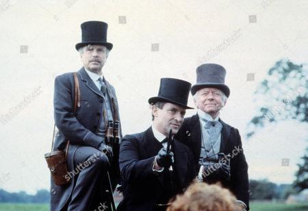 Silver Blaze Picture shows - Edward Hardwicke as Dr Watson, Jeremy Brett as Sherlock Holmes and Peter Barkworth as Colonel Ross