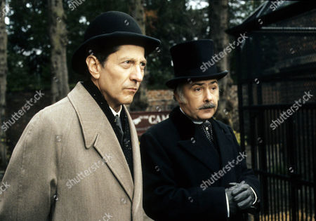 The Creeping Man Picture shows - Colin Jeavons as Inspector Lestrade and James Tomlinson as Macphail