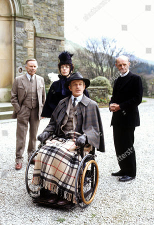 The Disappearance of Lady Frances Carfax Picture shows - Edward Hardwicke as Dr John Watson, Mary Cunningham as Miss Calder, Julian Curry as Albert Shlessinger and Anthony Benson as Vicar