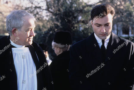 Episode 3 - Thief in the Night Picture shows - The funeral of Kate Rowan - Alan Rothwell as the Vicar and Nick Berry as PC Nick Rowan