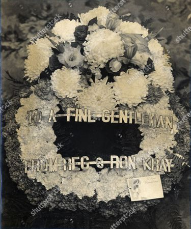 Stock Picture of Albert Dimes Funeral A Wreath From Reg And Ron Kray Albert 'italian Al' Dimes (died 11/1972) Was A London Criminal And Enforcer For Gang Leader William 'billy' Hill Who Was Allegedly Involved In Bookmaking And Loansharking During The 1940s And 50s.