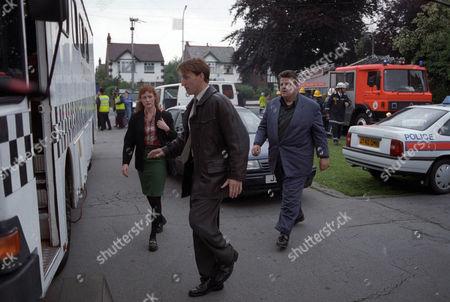 Geraldine Somerville as DS Jane Penhaligon, Christopher Eccleston as DCI David Bilborough and Robbie Coltrane as Dr Eddie Fitz Fitzgerald