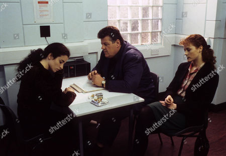 Susan Lynch as Tina Brien being questioned by Robbie Coltrane as Dr Eddie Fitz Fitzgerald and Geraldine Somerville as DS Jane Penhaligon