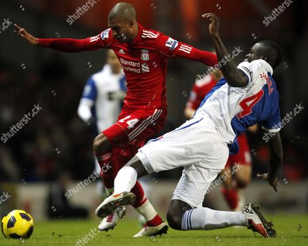 David N'Gog of Liverpool and Christopher Samba of Blackburn Rovers