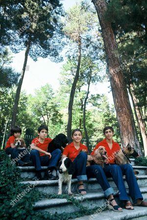 Stock Photo of Princess Leila Pahlavi, Prince Ali-Reza Pahlavi, Princess Farahnaz Pahlavi and Prince Reza Pahlavi
