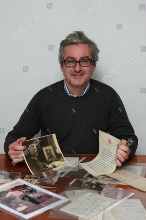 Mark Logue with some of his grandfather Lionel Logue's papers relating to his time helping King George VI overcome his stammer as shown in film 'The King's Speech'