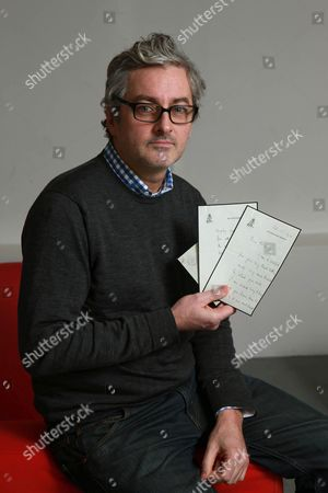 Mark Logue with a letter from the Queen Mother dated 1952 thanking his grandfather Lionel Logue