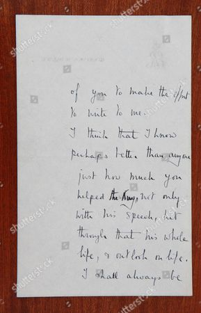 Stock Image of Letter from the Queen Mother dated 1952, following King George VI's death, thanking Lionel Logue