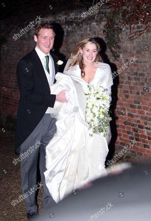 Harry Aubrey-Fletcher and Sarah Louise Stourton leave the church