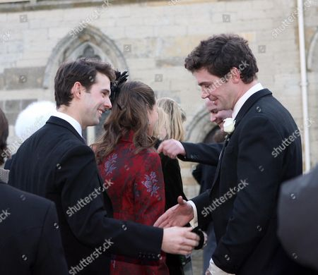 Stock Photo of Harry Meade and Rosemarie Meade are greeted by James Meade