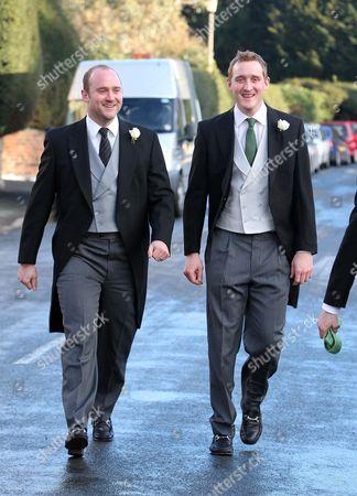Stock Photo of Harry Aubrey-Fletcher walking with brother Tom Aubrey-Fletcher arriving at the church