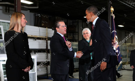 President Barack Obama introduces his new economic team at the Thompson Creek Manufacturing Company, from left to right: Heather Higginbottom, Deputy Director Office of Management and Budget; Gene B Sperling ; and Katharine Abraham, Member of the Council of Economic Advisors.