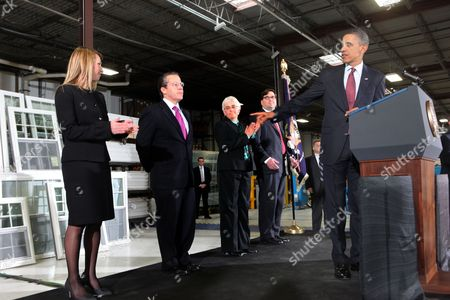 Stock Photo of From left to right: Heather Higginbottom, Deputy Director Office of Management and Budget; Gene B Sperling, Director of the National Economic Council; Katharine Abraham, Member of the Council of Economic Advisors; and Jason Furman, Assistant to the President for Economic Policy and Principal Deputy Director of the National Council; and President Barack Obama