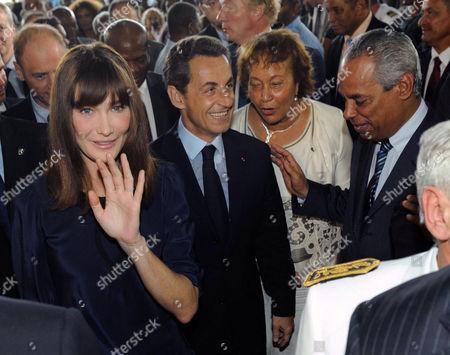 Carla Bruni-Sarkozy, Nicolas Sarkozy, Gabrielle Louis-Carabin and Victorin Lurel