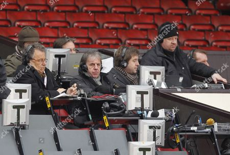 Former Liverpool player and pundit Mark Lawrenson looks on from the press box