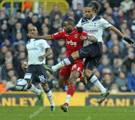 Benoit Assou-Ekotto of Tottenham Hotspur and Akpo Sodje of Charlton Athletic