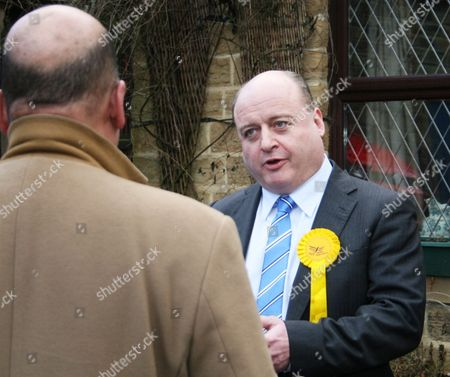Liberal Democrat Elwyn Watkins at the Hustings at Delph, interviewed by the BBC's John Pienaar