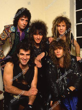 Bon Jovi backstage at Norwich Playhouse - clockwise from bottom left: Tico Torres, Richie Sambora, Alec John Such, David Bryan and Jon Bon Jovi