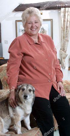 Jenny Pitman home near Newbury her dog Blue at home near Newbury, Berkshire, Britain