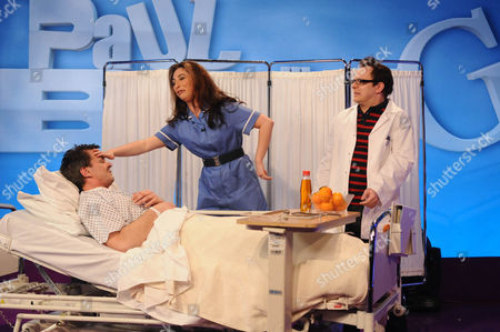 Paul Burling as Alan Carr,  Jessica Robinson as Stacey Solomon and Paul Butler as the patient in a Carry  On style doctors and nurses sketch