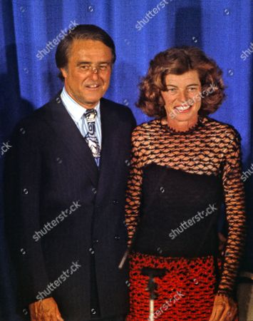 Stock Photo of Robert Sargent Shriver Jr and wife Eunice Kennedy Shriver following his acceptance speech