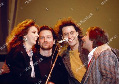 Stock Photo of U2 - Maire Brennan, Bono, Sir Bob Geldof and Chris de Burgh
