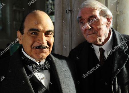 David Suchet as Hercule Poirot and Eric Sykes as Fullerton.